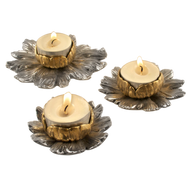 Water Lily Gold & Silver Tea Light Set
