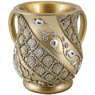 Gold Large Pomegranate Swirl Polyresin Washing Cup