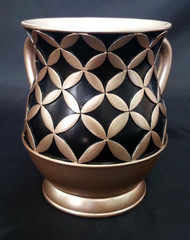 Acrylic Washing Cup Diamonds in Circles - Brown