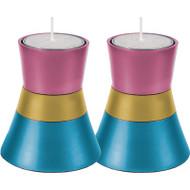 Turquoise/Pink/Gold Anodized Aluminum Tea Light Holder (Set of 2)