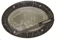 Oval Black Wood & Silver Plated Challah Board & Knife- Marble Design