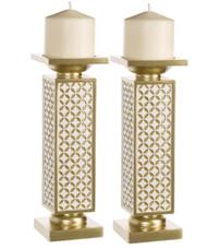 Diamond Lattice Schonwerk Candlesticks (Set of 2)