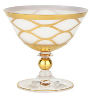Milky Glass Dessert Cups w/ 24K Gold Design (Set of 4)