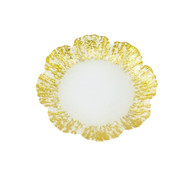 Milky Glass Dessert Plates w/ Scalloped Gold Border