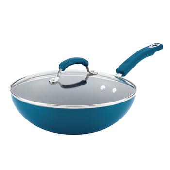 "Rachael Ray 11"" Aluminum Nonstick Covered Stir Fry Pan - Marine Blue"