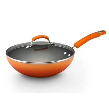 "Rachael Ray 11"" Porcelain Enamel Nonstick Covered Stir Fry Pan - Orange"