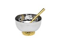 Godinger Herringbone Salt Cellar w/ Spoon (70255)