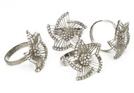 Tervy Leaf Floral Silver Napkin Rings (4 pc Set) (MIN19N)