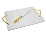 Godinger White Marble Challah Board & Knife w/ Gold Handles (70425 )