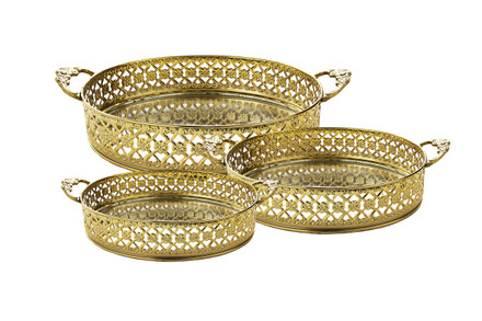 Gold Mirror Tray with Handles (Set of 3) (MSET33G)