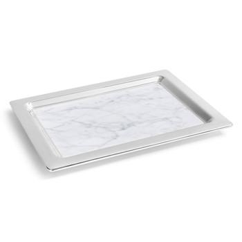ANNA Dual Tray - Carrara Marble / Silver (DUA-TRRC-37T)