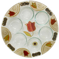 Lily Art Round Seder Plate- Colorful Tulip (LASEP36)