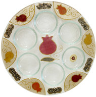Lily Art Round Seder Plate- Red Pomegranate (LASEP6)