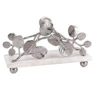 Badash Napkin Holder w/ Marble Base & Brass Petals Design - Silver