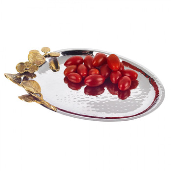 Badash Petals Stainless Steel & Brass Oval Tray (L851)