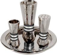 Hammered Havdalah Set - Black Rings (EM-HAC4)