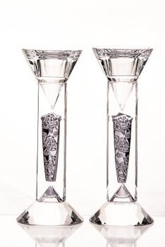 "Crystal & Silver Diamond & Floral Candlestick Set - 6"""