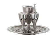 Pewter Havdalah Set w/ Glass Inserts (I152)