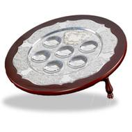 Hazorfim Wood & Silver Seder Plate On Legs
