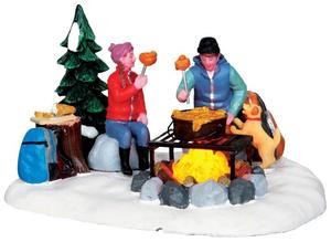 34625 - Campfire Fondue, Battery-Operated (4.5v)  - Lemax Christmas Village Table Pieces
