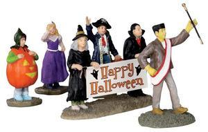 32115 - Halloween Parade Banner, Set of 5  - Lemax Spooky Town Halloween Village Figurines