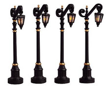 54313 -  Colonial Street Lamp, Set of 4 (4.5v) - Lemax Christmas Village Misc. Accessories