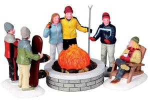 04223 - Fire Pit, Set of 5, B/O (4.5v) -  Lemax Christmas Village Table Pieces