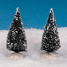 14004 - Bristle Tree, Set of 2, Small - Lemax Christmas Village Trees