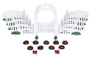 04233 - Plastic Arbor & Picket Fences with Decorations, Set of 20 -  Lemax Christmas Village  Accessories