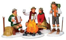 14356 - Alpine Ski Party, Set of 4, Battery-Operated (4.5v) - Lemax Christmas Village Table Pieces