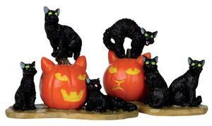 12883 - Halloween Cats, Set of 2 - Lemax Spooky Town Halloween Village Figurines