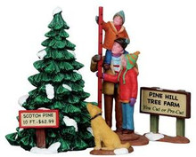 12926 - Picking the Tallest Tree, Set of 4 - Lemax Christmas Village Figurines