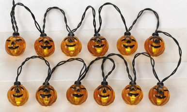 24759 -  12 Lighted Pumpkin Garland String, Battery-Operated (4.5v) - Lemax Spooky Town Halloween Village Accessories