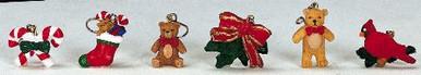 44202 - Lemax Christmas Tree Decoration, Set of 6 Assorted Christmas Ornaments - Lemax Christmas Village Trees