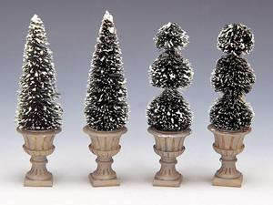 34965 - Cone-Shaped & Sculpted Topiaries, Set of 4 - Lemax Christmas Village Trees