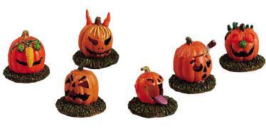 52117 -  Pumpkin People, Set of 6 - Lemax Spooky Town Halloween Village Figurines