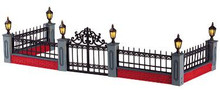 54303 -  Lighted Wrought Iron Fence, Set of 5, Battery-Operated - Lemax Christmas Village Misc. Accessories