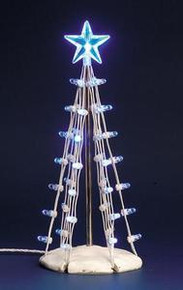 74658 - Lighted Silhouette Tree(Blue), Medium, Battery-Operated (4.5v) - Lemax Christmas Village Trees