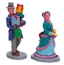 72383 -  Out Shopping, Set of 2 - Lemax Christmas Village Figurines