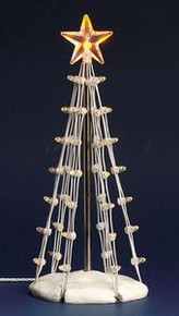 74660 - Lighted Silhouette Tree(Clear), Medium, Battery-Operated (4.5v) - Lemax Christmas Village Trees