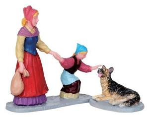 12900 - Oh, Can I Pet Him?, Set of 2 - Lemax Christmas Village Figurines