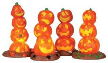34623 - Light Up Pumpkin Stack, Set of 4, Battery-Operated (4.5v)  - Lemax Spooky Town Halloween Village Accessories