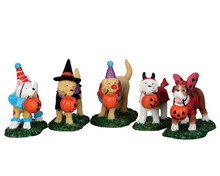 52301 - Trick or Treating Dogs, Set of 5 - Lemax Spooky Town Figurines