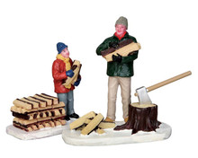 52323 - Stacking Firewood, Set of 2 - Lemax Christmas Figurines