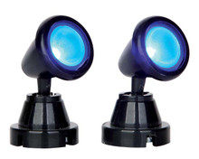 54945 - Round Spot Light, Blue, Set of 2, Battery-Operated (4.5v) - Lemax Electrical Accessories