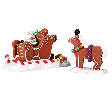 73294 - Santa's Sleighride, Set of 2 - Lemax Sugar N Spice Accessories