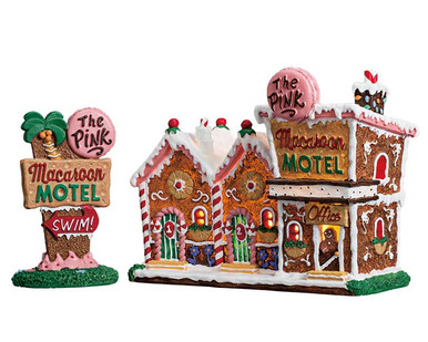 75180 - The Pink Macaroon Motel, Set of 2, Battery-Operated (4.5v) - Lemax Sugar N Spice Houses