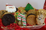 Holiday Cookie Basket with three designed cookies and two dozen freshly baked gourmet cookies