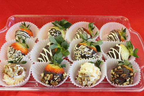 One dozen chocolate dipped strawberries