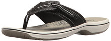 Clarks Women's Brinkley Jazz Flip Flop, Black Synthetic